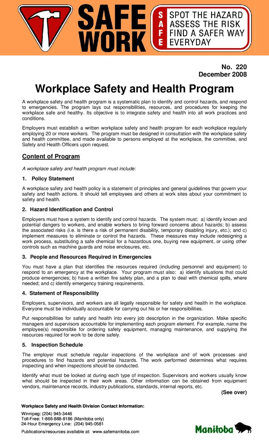 workplace safety and health programs